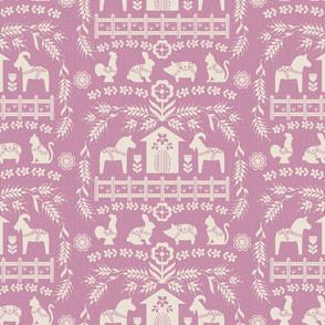 Dala Farm in Pink // swedish folk art dala horse cat rooster pig goat bunny farm pink fabric