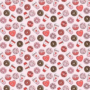 """(1/2"""" scale) donuts and coffee - valentines day - red, pink, & chocolate on pink C18BS"""