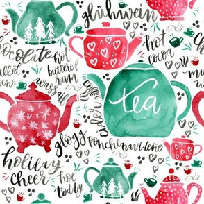 Holiday Teapots - Red and Green