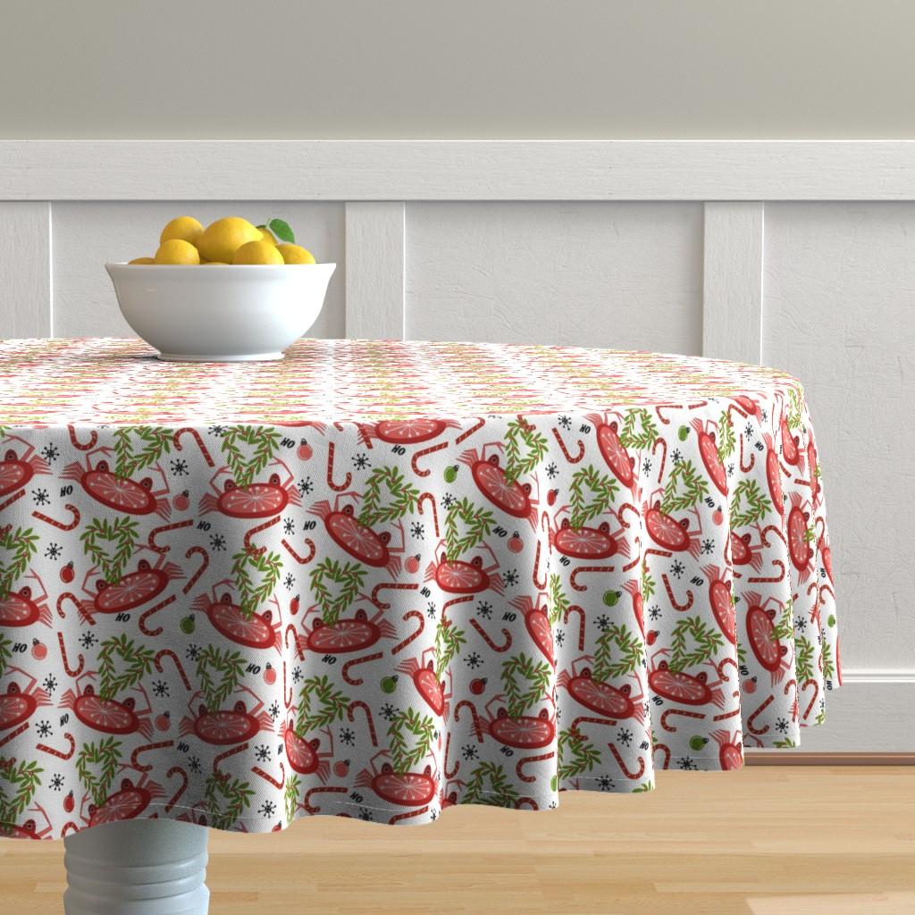 Malay Round Tablecloth featuring Christmas Eve Snow Crab sewindigo by sewindigo