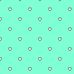 White Black Color Love Heart - Aquamarine Cyan Green Color Background - Heart Love Polka Dot Pattern
