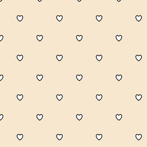 White Black Color Love Heart - Champagne Sparkling Wine Beige Color Background - Heart Love Polka Dot Pattern