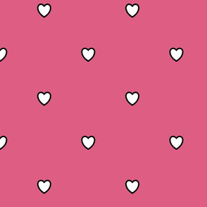 White Black Color Love Heart Blush Red Violet Pink Color Background Polka Dot Pattern