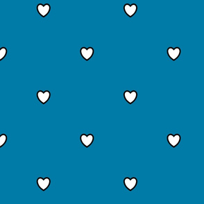 White Black Color Love Heart Cerulean Blue Color Background Polka Dot Pattern