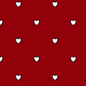 White Black Color Love Heart Sangria Wine Dark Red Color Background Polka Dot Pattern