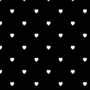 White Color Love Heart Black Background Polka Dot Pattern