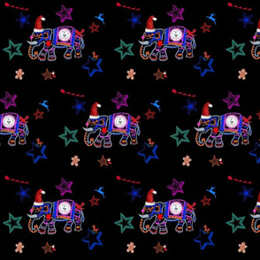 Santa Elephant lino cut in multi colors with Stars