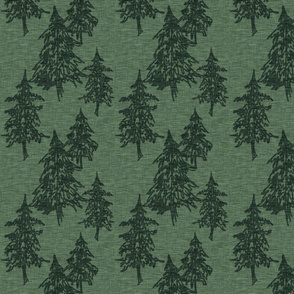 Evergreen Trees - Northwoods green linen