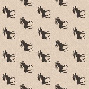 "2.5"" moose - brown on tan linen - rotated"