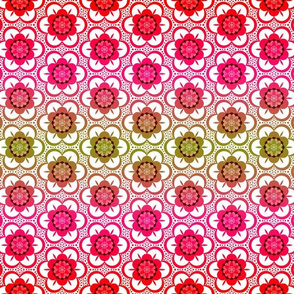 1970s bright summer floral - red, pink, green