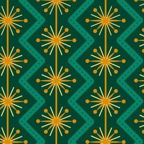 Atomic Christmas- Golden Green // midcentury modern retro atomic age christmas green gold wrapping paper giftwrap