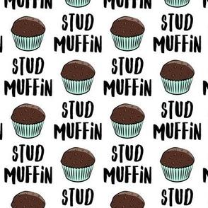 Stud muffin - valentines day - chocolate muffins on white