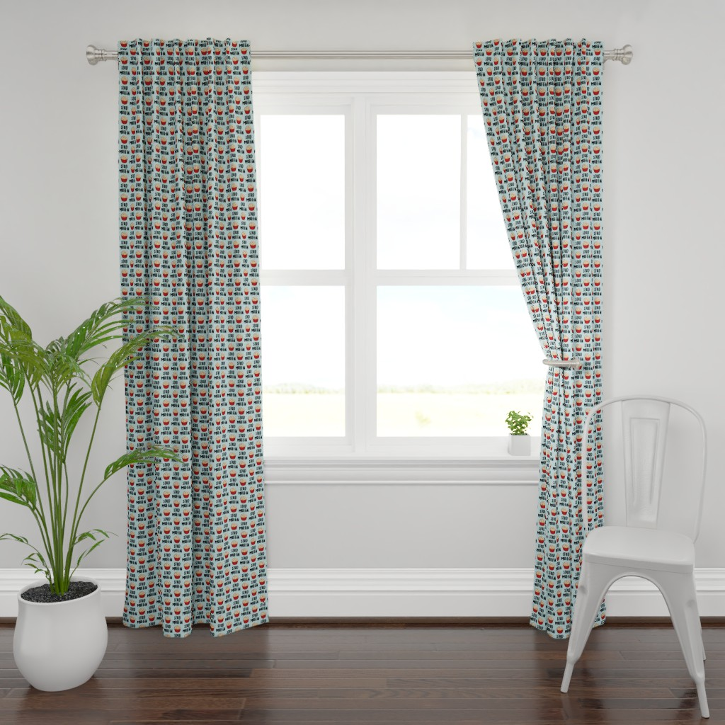 Plymouth Curtain Panel featuring Stud muffin - valentines day - muffins on blue by littlearrowdesign