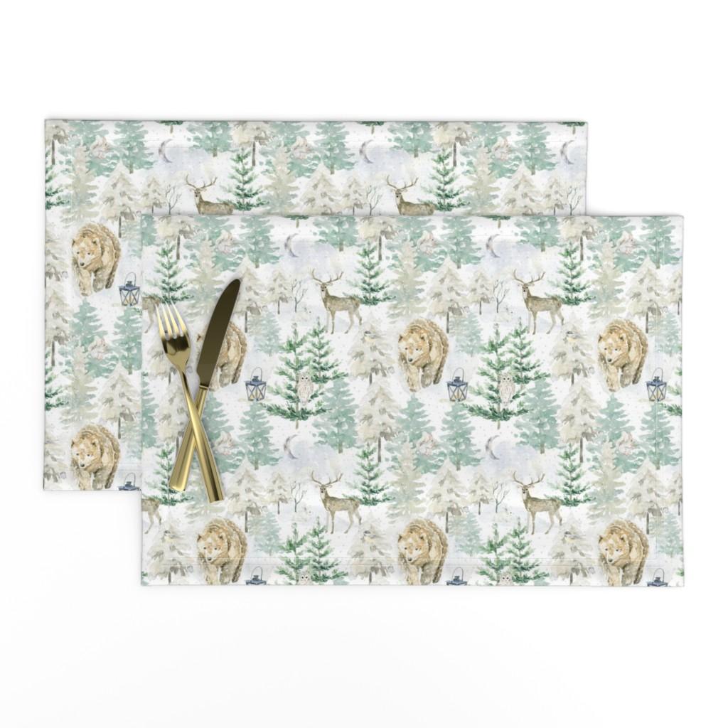"Lamona Cloth Placemats featuring 7"" Hand drawn Watercolor Winter Wonderland by utart"
