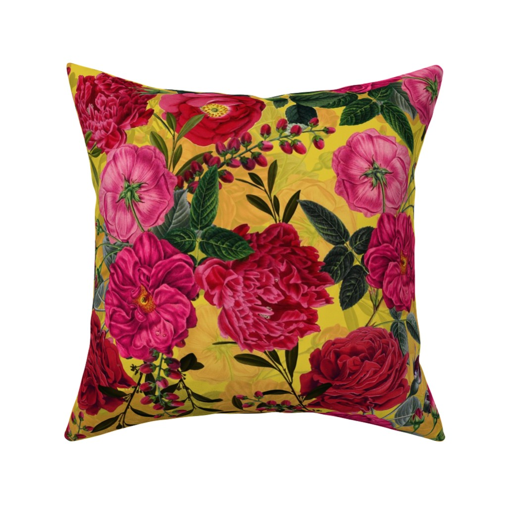 "Catalan Throw Pillow featuring 18"" Pierre-Joseph Redouté- Moody Florals Roses on yellow by utart"