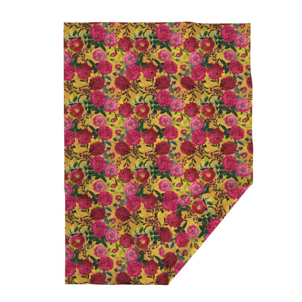 "Lakenvelder Throw Blanket featuring 18"" Pierre-Joseph Redouté- Moody Florals Roses on yellow by utart"