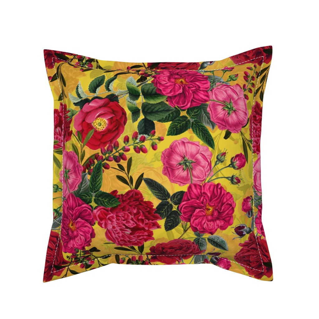 """Serama Throw Pillow featuring 18"""" Pierre-Joseph Redouté- Moody Florals Roses on yellow by utart"""
