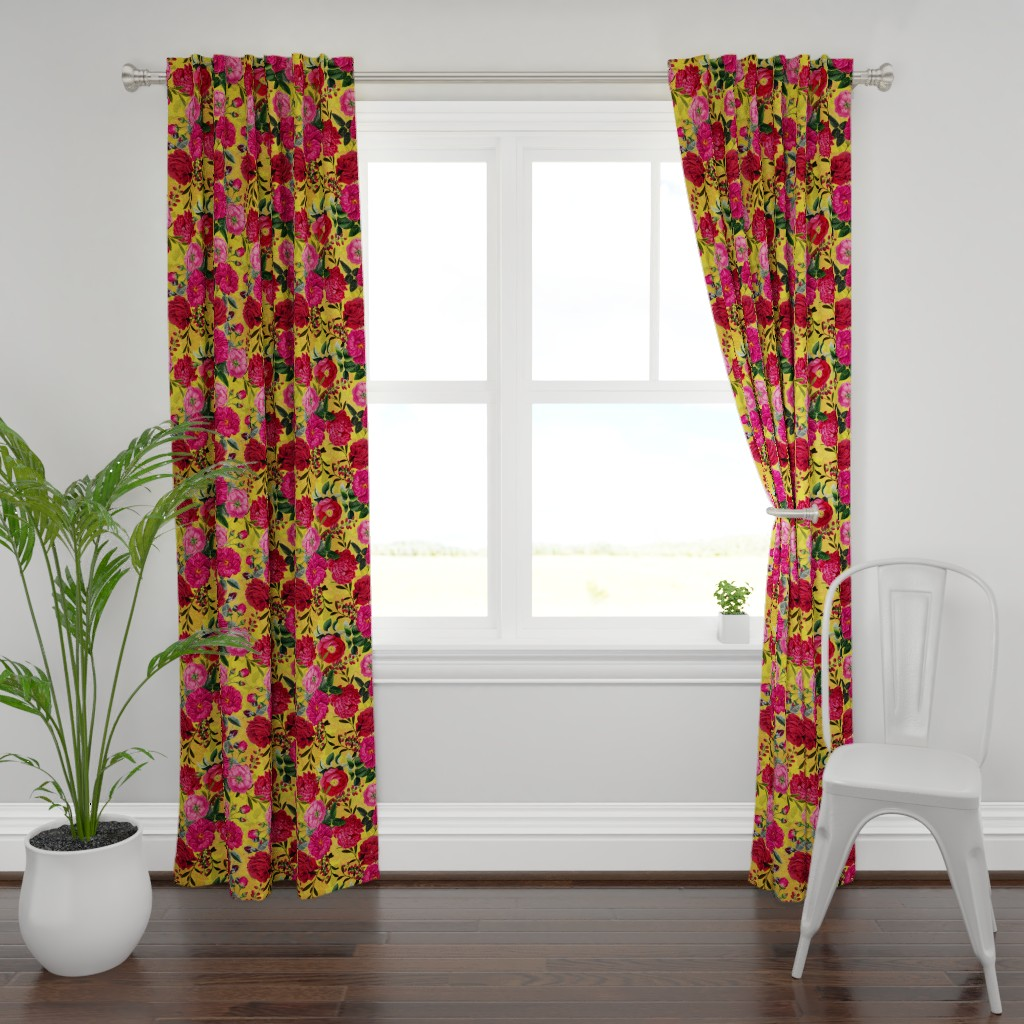 "Plymouth Curtain Panel featuring 18"" Pierre-Joseph Redouté- Moody Florals Roses on yellow by utart"