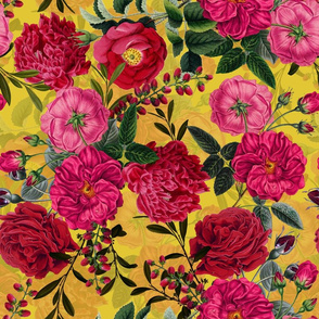 "18"" Pierre-Joseph Redouté- Moody Florals Roses on yellow"