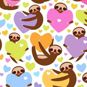 Cute kawaii Three-toed sloths and  hearts, on white background