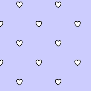 White Black Color Love Heart Periwinkle Light Blue Color Background Polka Dot Pattern
