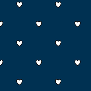 White Black Color Love Heart Prussian Berlin Dark Blue Color Background Polka Dot Pattern