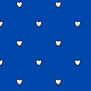 White Black Color Love Heart Cobalt Blue Color Background Polka Dot Pattern