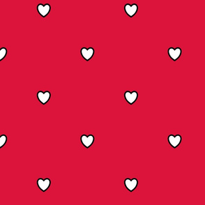 White Black Color Love Heart Crimson Red Color Background Polka Dot Pattern