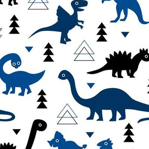 Adorable dino dinosaur fantasy geometric triangles and funky animal illustration theme for kids cobalt blue navy black boys