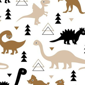 Adorable dino dinosaur fantasy geometric triangles and funky animal illustration theme for kids cobalt brown beige gender neutral