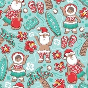 Small scale // Mele Kalikimaka Hawaiian Christmas gingerbread cookies // aqua background aqua holiday cookies