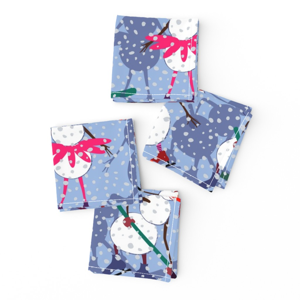 Frizzle Cocktail Napkins featuring Active snowmen by inna_alborova