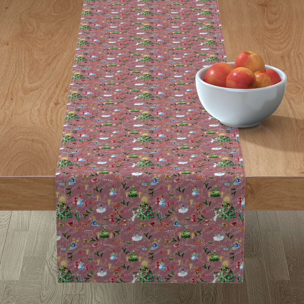 Minorca Table Runner featuring Decorating christmas tree by magic_pencil
