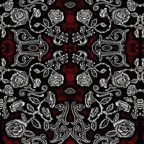 BW Floral dark red