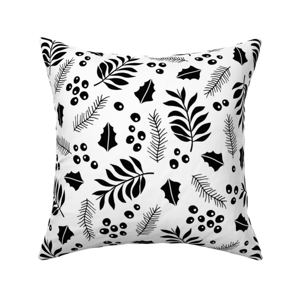 Catalan Throw Pillow featuring Botanical christmas garden pine leaves holly branch monochrome black JUMBO by littlesmilemakers