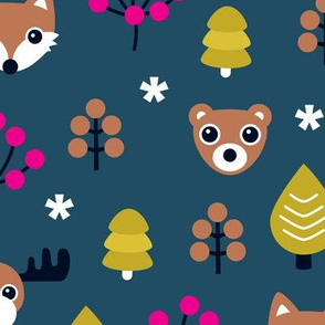 Winter wonderland christmas woodland animals moose fox wolf and bear kids canada night theme girls LARGE
