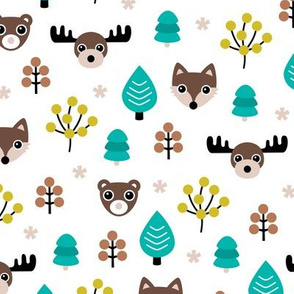 Winter wonderland Christmas woodland animals moose fox wolf and bear kids canada theme gender neutral ochre blue