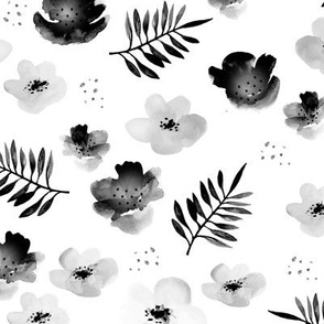 Botanical garden watercolors summer palm leaves and cherry flowers blossom  monochrome black and white LARGE