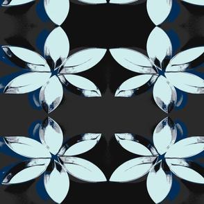 Mini Baking Tin Flower Blues Greys