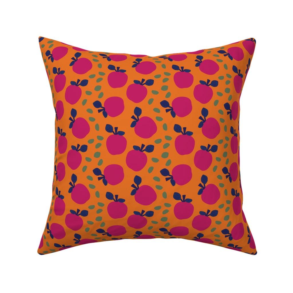 Catalan Throw Pillow featuring Fuchsia Apples by ildiko_sipos_design