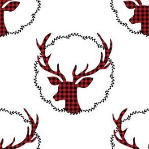 """6"""" Plaid Winter Deer Wreath"""