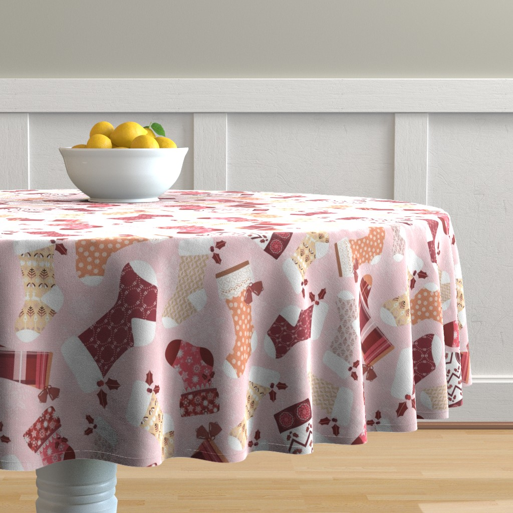 Malay Round Tablecloth featuring Christmas Stockings in Red and Orange by paula_ohreen_designs