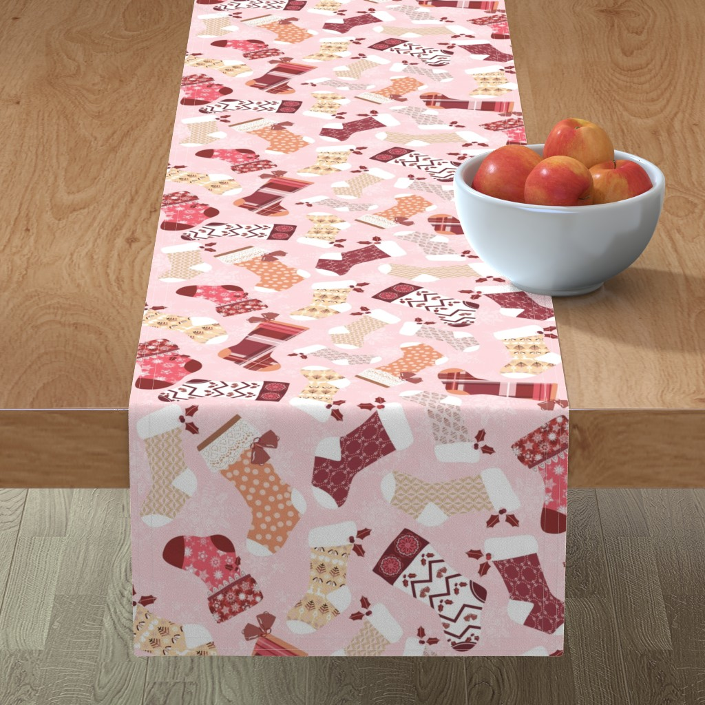 Minorca Table Runner featuring Christmas Stockings in Red and Orange by paula_ohreen_designs
