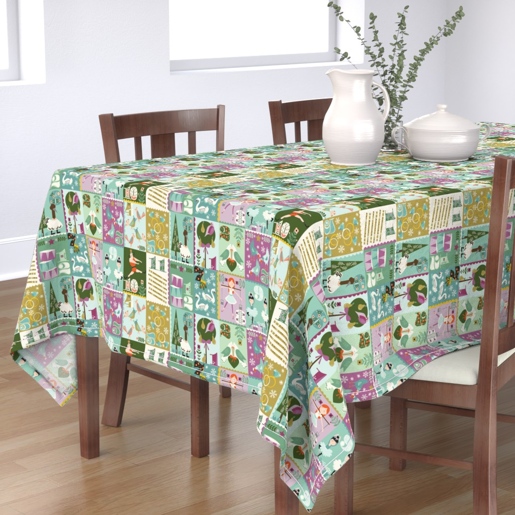 Bantam Rectangular Tablecloth featuring The Twelve Days of Christmas by oliveandruby