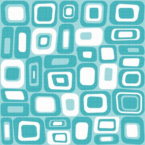 Turquoise Mid Century Modern Geometric Squares and Rectangles