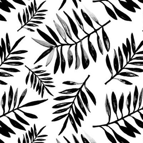 Botanical watercolor garden palm leaves summer beach monochrome black and white