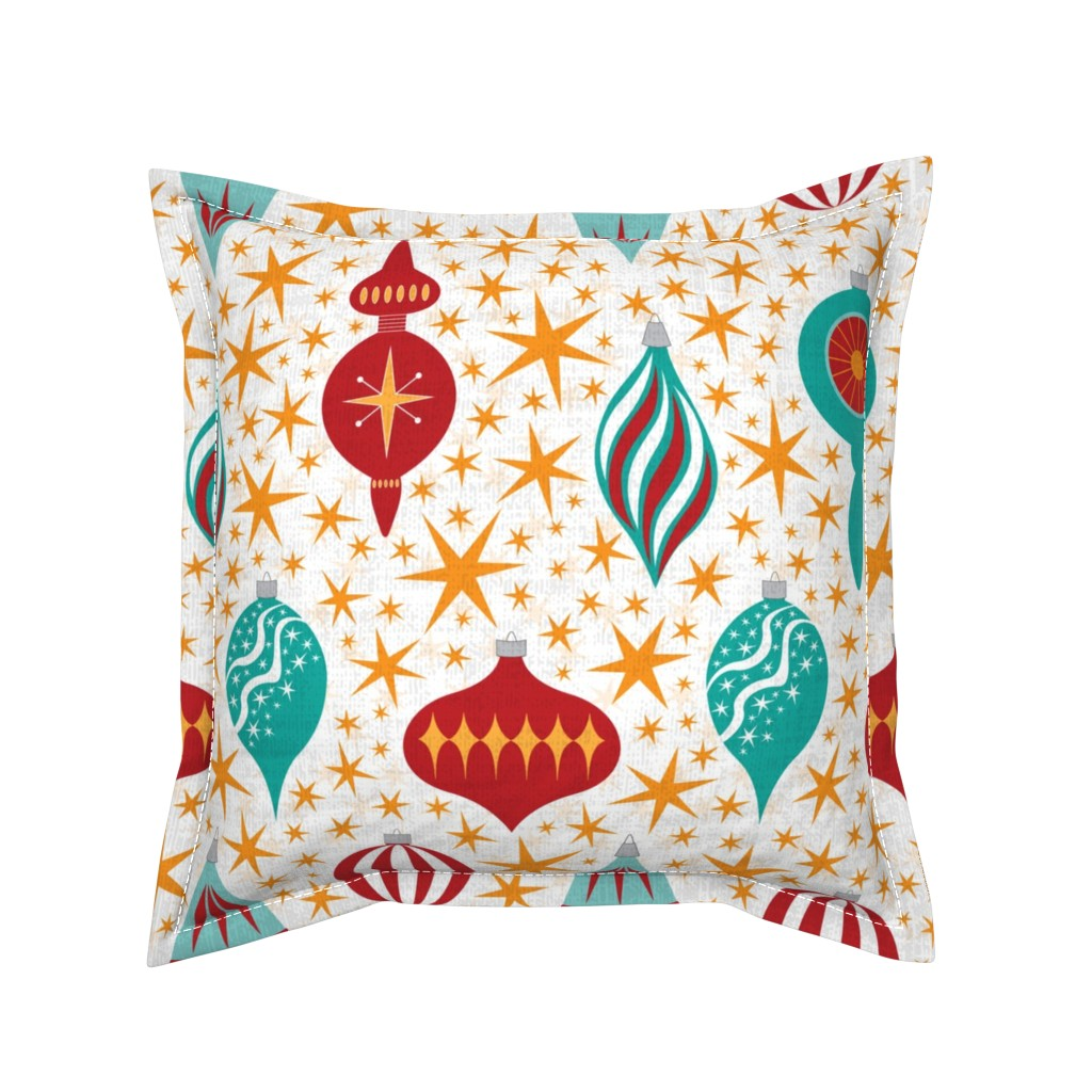 Serama Throw Pillow featuring Retro Christmas Tree Ornaments by candogirldesign
