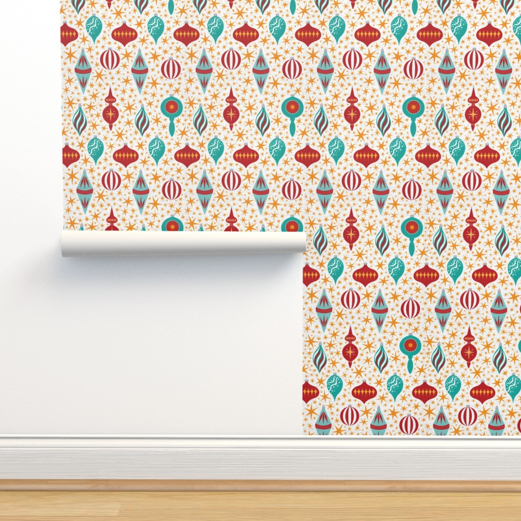 Isobar Durable Wallpaper featuring Retro Christmas Tree Ornaments by candogirldesign