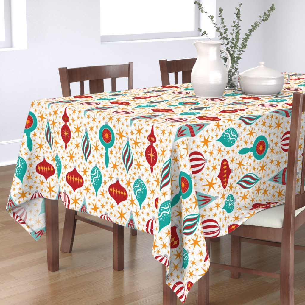 Bantam Rectangular Tablecloth featuring Retro Christmas Tree Ornaments by candogirldesign