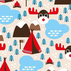 Little moose adventures woodland pine trees and wanderlust Canada theme for kids blue boys